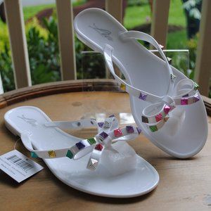 NWT NIB Jelly Sandal WHITE Colorful Adornment BOWS